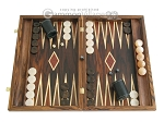 Zebrano-Leather Backgammon Set with Racks - Item: 2289