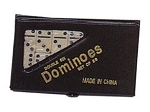 DOUBLE 6 Dominoes Mini Ivory Color Tiles with Black Dots in Vinyl Case - Item: 1952