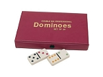 DOUBLE 6 Dominoes Ivory Color Tiles with Assorted Color Dots in Vinyl Case - Item: 1958