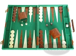 15-inch Deluxe Backgammon Set - Green - Item: 1681
