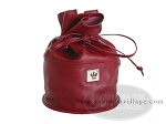 Double 6 Professional Dominoes in Round Bottom Leather Bag - Burgundy - Item: 1999