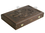 Carved Maple Backgammon Set with Racks - Byzantine