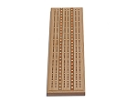 Solid Oak 3 Track Cribbage Board with Inlay - Item: 3113