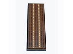 Solid Stained Oak 3 Track Cribbage Board with Inlay - Item: 3114