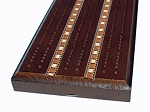 picture of Solid Stained Oak 3 Track Cribbage Board with Inlay (2 of 3)