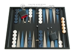 Black Backgammon Set with Racks - Blue - Item: 2296