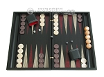 Black Backgammon Set with Racks - Red - Item: 2298