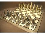 Renaissance Metal Chessmen Chess Set with Briar Veneer Chess Board
