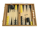 Oak Backgammon Set with Racks - Item: 2284