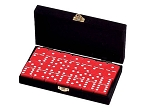 DOUBLE 6 Red Dominoes Set - With Spinners - Velvet Box - Item: 2655