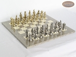 French Heritage Chessmen with Spanish Lacquered Chess Board [Grey] - Item: 917