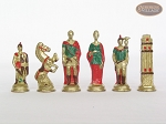 picture of Colored Brass Roman Chessmen with Patterned Italian Leatherette Chess Board with Storage [Green] (8 of 9)