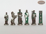 picture of Colored Brass Roman Chessmen with Patterned Italian Leatherette Chess Board with Storage [Green] (9 of 9)