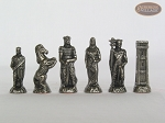 picture of Brass Roman Chessmen with Patterned Italian Leatherette Chess Board with Storage [Brown] (9 of 9)