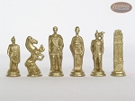 picture of Brass Roman Chessmen with Patterned Italian Leatherette Chess Board with Storage [Green] (8 of 9)