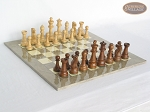 Royal Rosewood and Maple Staunton Chessmen with Large Spanish Lacquered Chess Board [Grey] - Item: 819