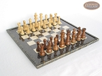 Royal Rosewood and Maple Staunton Chessmen with Italian Lacquered Board [Black] - Item: 821