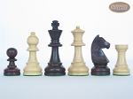 picture of Professional Staunton Maple Chessmen with Patterned Italian Leatherette Chess Board (5 of 5)