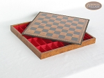 picture of Italian Brass/Silver Staunton Chessmen with Patterned Italian Leatherette Chess Board with Storage [Brown] (6 of 7)