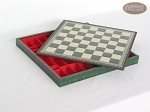 picture of Italian Brass/Silver Staunton Chessmen with Patterned Italian Leatherette Chess Board with Storage [Green] (6 of 7)
