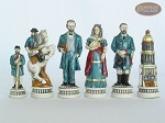 picture of Confederate vs. Union Chessmen with Large Spanish Lacquered Chess Board [Grey] (8 of 8)