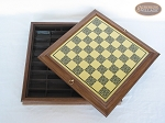picture of Red and Black Maple Staunton Chessmen with Italian Brass Chess Board with Storage (6 of 7)