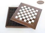 picture of Red and Black Maple Staunton Chessmen with Italian Alabaster Chess Board with Storage (5 of 7)