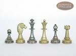picture of Italian Brass/Silver Staunton Chessmen with Patterned Italian Leatherette Chess Board with Storage [Brown] (7 of 7)
