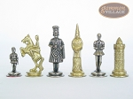 Teutonic Brass/Silver Chessmen with Patterned Italian Leatherette Chess Board with Storage [Brown]