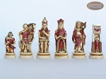 Egyptian Chessmen with Large Spanish Lacquered Chess Board [Grey]