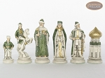 The Battle of Kazan Chessmen with Italian Lacquered Chess Board [Wood]