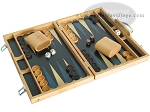 picture of 15-inch Wood Backgammon Set - Beechwood (Blue) (2 of 11)