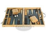picture of 15-inch Wood Backgammon Set - Beechwood (Blue) (4 of 11)