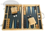 15-inch Wood Backgammon Set - Beechwood (Blue) - Item: 1668