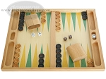 19-inch Wood Backgammon Set - Beechwood (Green/Yellow) - Item: 1672