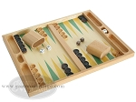 picture of 19-inch Wood Backgammon Set - Beechwood (Green/Yellow) (2 of 8)