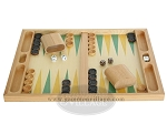 picture of 19-inch Wood Backgammon Set - Beechwood (Green/Yellow) (4 of 8)
