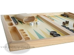 picture of 19-inch Wood Backgammon Set - Beechwood (Green/Yellow) (5 of 8)