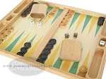 picture of 19-inch Wood Backgammon Set - Beechwood (Green/Yellow) (7 of 8)