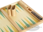 picture of 19-inch Wood Backgammon Set - Beechwood (Green/Yellow) (8 of 8)