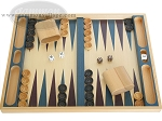 19-inch Wood Backgammon Set - Beechwood (Blue/Purple) - Item: 1673