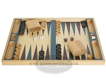 19-inch Wood Backgammon Set - Beechwood (Blue/Purple)