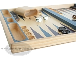 picture of 19-inch Wood Backgammon Set - Beechwood (Blue/Purple) (5 of 8)
