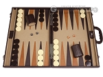 Aries™ Professional Leather Backgammon Set - Brown/Beige