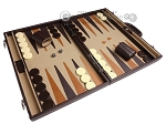 picture of Aries Professional Leather Backgammon Set - Brown/Beige (2 of 12)
