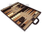 picture of Aries Professional Leather Backgammon Set - Brown/Beige (3 of 12)