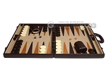 picture of Aries Professional Leather Backgammon Set - Brown/Beige (4 of 12)