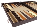 picture of Aries Professional Leather Backgammon Set - Brown/Beige (5 of 12)