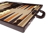 picture of Aries Professional Leather Backgammon Set - Brown/Beige (6 of 12)