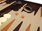 picture of Aries Professional Leather Backgammon Set - Brown/Beige (8 of 12)